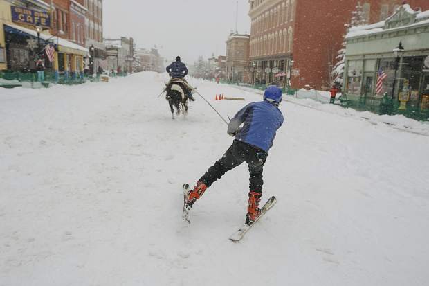 Competitors take off down Harrison Avenue during the 71st Leadville Ski Joring competition on Sunday afternoon, March 3, in Leadville.