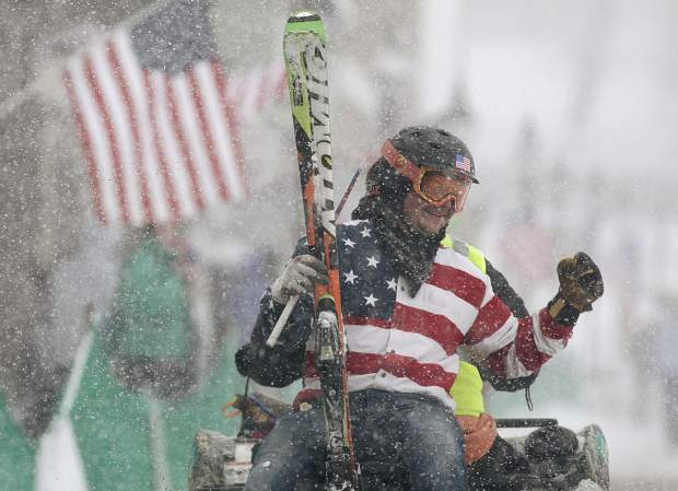 Summit County resident and skier Vinny Pestello reacts after hearing his score following his first run of the day at the 71st Leadville Ski Joring competition Sunday afternoon, March 3, in Leadville.