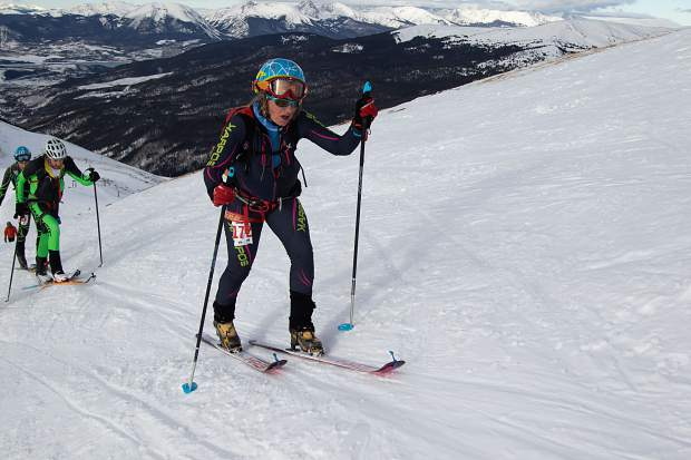 Kate Zander of Farmers Korner skins up Arapahoe Basin Ski Area during the December 2018 qualifying event for the 2019 International Ski Mountaineering Federation World Championships.