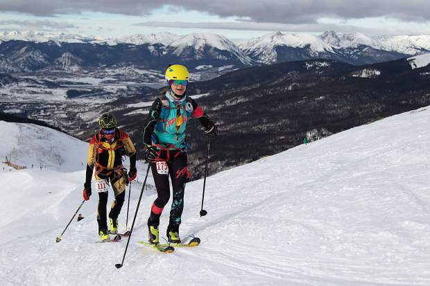 Nikki LaRochelle of Breckenridge, right, skins up Arapahoe Basin Ski Area during December's qualifying event for the International Ski Mountaineering Federation World Championships. LaRochelle qualified to compete in the event, scheduled for Sunday through next Saturday in Switzerland.