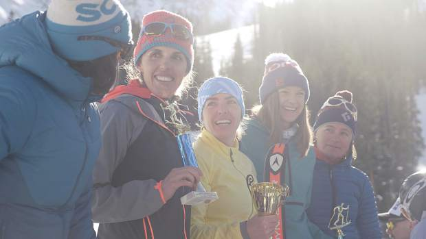 Summit County locals Sierra Anderson (second from left), Nikki LaRochelle (second from right) and Kate Zander (far right) represented the United States of America at the 2019 International Ski Mountaineering Federation World Championships in Switzerland.