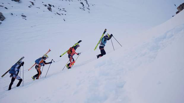 From right Summit County skimo athletes Nikki LaRochelle, Sierra Anderson and Jaime Brede ascend by boot-pack up Arapahoe Basin Ski Area during a ski mountaineering event in December. Along with Breckenridge local Kate Zander, the trio will represent the United States at this week's International Ski Mountaineering Federation World Championships in Switzerland.
