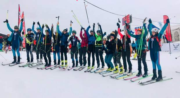 Members of Team USA, including several Summit County locals, pose for a celebratory photo together in their Team USA gear at the International Ski Mountaineering Federation World Championships in Villars sur Ollon, Switzerland. Competition begins Sunday and runs through Saturday.