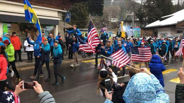 Members of Team USA, including several Summit County locals, march on Saturday in the parade prior to the opening ceremonies at the International Ski Mountaineering Federation World Championships in Villars sur Ollon, Switzerland. Competition begins Sunday and runs through Saturday.