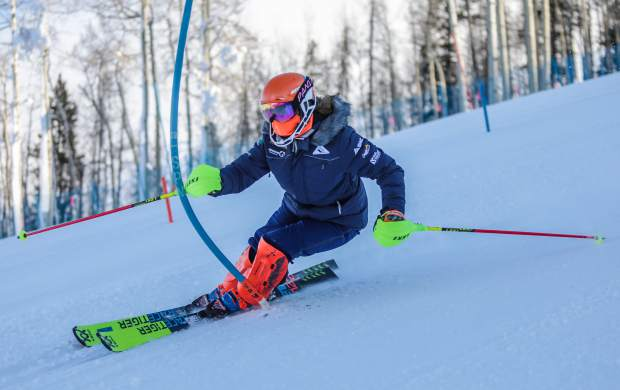 Daisi Daniels charges down the giant slalom course on the first day of training on Golden Peak in early November in Vail. Golden Peak's training terrain, which will nearly double in size with a summer expansion, has become a hub for elite athletes in the early months of winter.