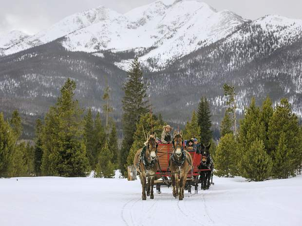 Two Below Zero sleigh rides with the Tenmile Range and the White River National Forest as the backdrop Thursday, Feb. 28, on the Frisco Peninsula.
