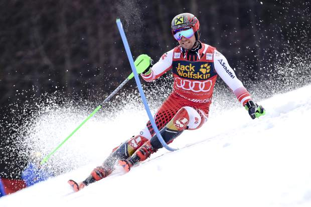 Austria's Marcel Hirscher speeds down the course during an Alpine Skiing World Cup men's slalom event in Kranjska Gora, Slovenia on Sunday.