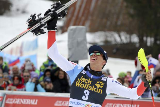 Switzerland's Ramon Zenhaeusern celebrates after winning an Alpine Skiing World Cup men's slalom event in Kranjska Gora, Slovenia on Sunday.