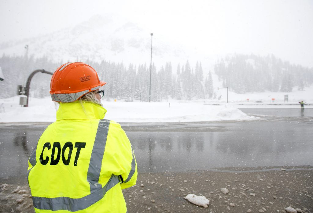 Tamara Rollison, CDOT Communications Manager,  on Interstate 70 during snowstorm Thursday, March 7, at Loveland Pass.