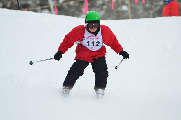 An athlete eyes the slope during a downhill skiing competition at this past weekend's 2019 Special Olympics Colorado State Winter Games at Copper Mountain Resort.