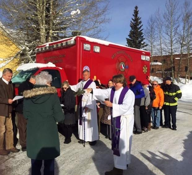 The ambulance is blessed at a ceremony at St. John's Episcopal Church in Breckenridge before getting shipped off to Honduras.