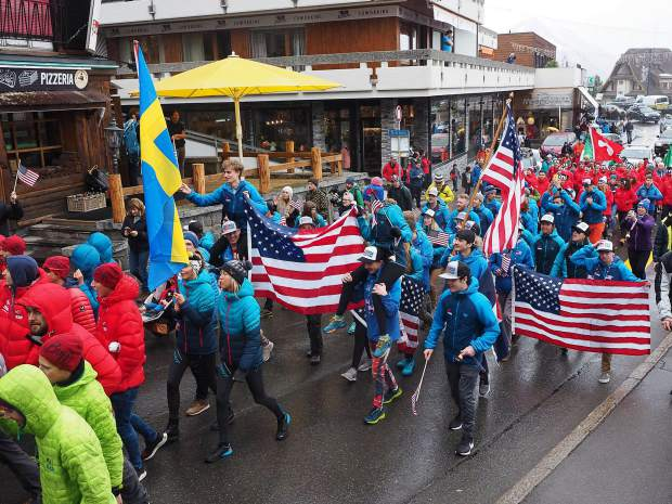 Members of Team USA march in a ceremony during the International Ski Mountaineering Federation World Championships earlier this month in Switzerland.