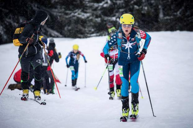 Summit County local Jaime Brede (right) skins uphill during the International Ski Mountaineering Federation World Championships earlier this month in Switzerland.