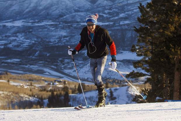 Carbondale's Sean Van Horn skins uphill at Buttermilk Mountain on Monday morning, March 18, near Aspen. Van Horn was attempting to break North America's record for the most vertical gain on skis in 24 hours.
