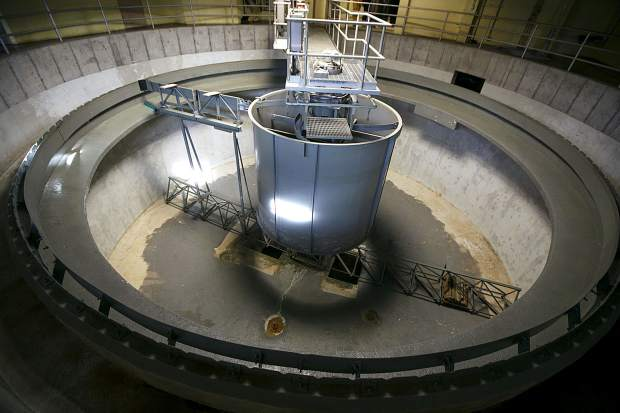 An empty clarifier, normally used to separate the solid activated sewage from the liquid, at the Snake River Wastewater Treatment Plant Tuesday, March 26, in Dillon.