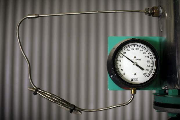 The blower air temperature gauge inside the Snake River Wastewater Treatment Plant Tuesday, March 26, in Dillon.