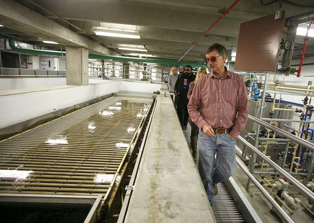Snake River Wastewater Treatment Plant director Chuck Clause leads a tour inside the facility Tuesday, March 26, in Dillon.