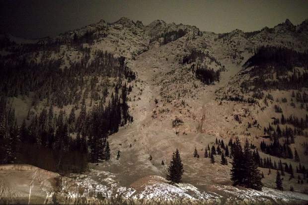 An avalanche slide path seen from the Interstate 70 Sunday evening, March 3, near exit 198.