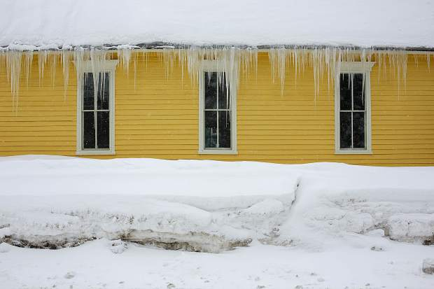 Icicles hanging from the St. John Baptist Episcopal Church, Wednesday, March 13, in Breckenridge.