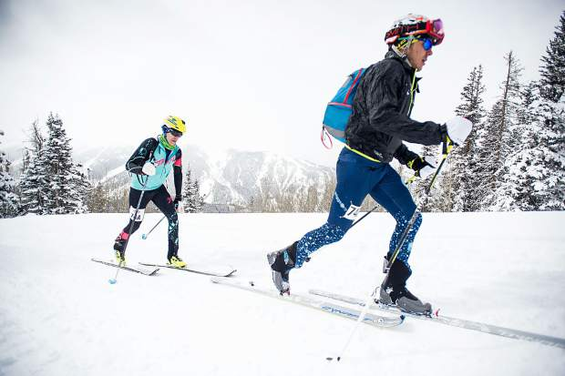 Athletes compete in the 2017 Audi Power of Four ski mountaineering race in Aspen.