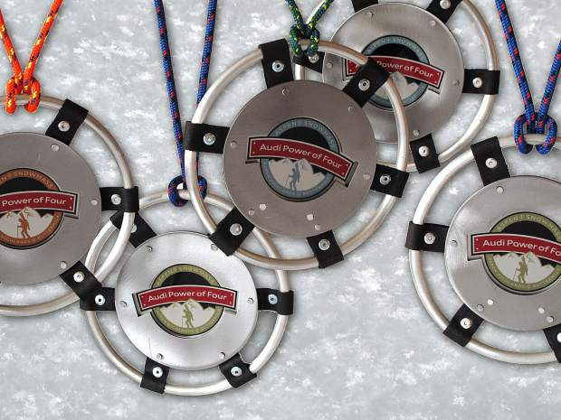 New medals! At the 2019 Audi Power of Four Ski Mountaineering Race, 2nd and 3rd place finishers (Men, Women, Coed & Masters) will receive a custom handcrafted stainless steel