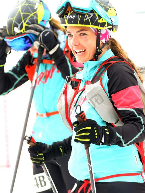 Jessie Young smiles after completing the 2019 Audi Power of Four ski mountaineering race on Saturday, March 2, 2019, in Aspen.