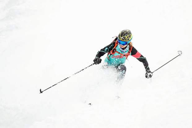 Nikki LaRochelle skis Walsh's on Aspen Mountain for the ski mountaineering race the Power of 4 in March 2019.