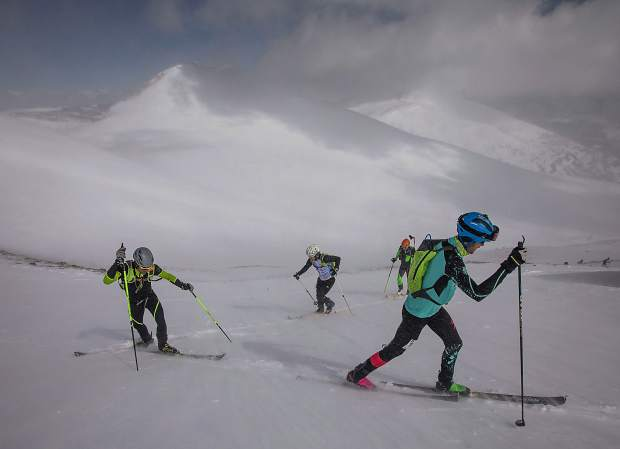 Rory Kelly of Boulder, right, and Jon Brown of Crested Butte skin up towards summit of Peak 10 during the 5 Peaks ski mountaineering race Saturday, April 27, in Breckenridge.