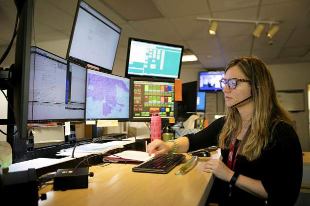 911 dispatcher Kandace Cornelsen Friday, April 26, at the Summit County Communications in Frisco.
