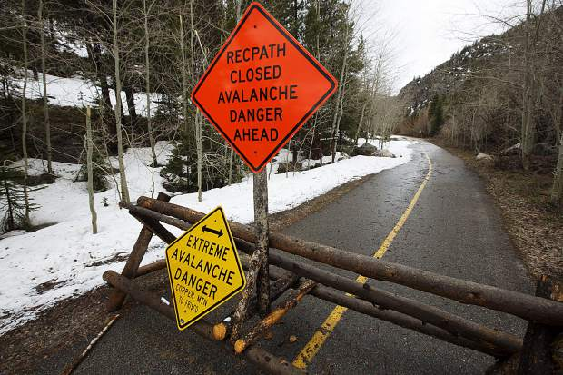 The closed recreational path in the Tenmile Canyon due to damage from avalanches over the winter Monday, April 29, in Frisco.