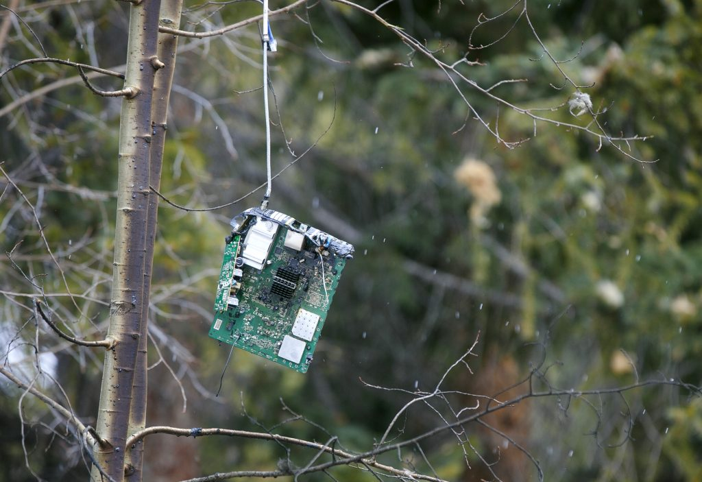 An electronic device hangs in a tree at least 20 feet in the air as a result of the explosion Wednesday, April 3, along Royal Tiger Road in Breckenridge. Around 1:30 a.m. Wednesday, the house exploded due to an apparent rupture in the home's gas line. Two people were sleeping inside and were only injured.