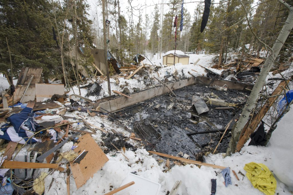 Debris surrounds the foundation of the house seen on Wednesday, April 3, along Royal Tiger Road in Breckenridge. Around 1:30 a.m. Wednesday, the house exploded due to an apparent rupture in the home's gas line. Two people were sleeping inside and were only injured.
