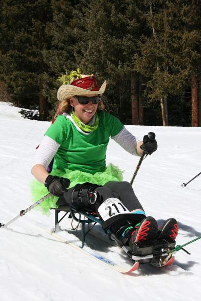 Angela Knightly traverses the Breckenridge Nordic Center trails on a sit-ski during Sunday's 17th annual Breckebeiner Nordic Ski-A-Thon fundraiser at the Breckenridge Nordic Center in Breckenridge. Knightly skied 20 kilometers on Sunday, half of the total skied by a team dubbed