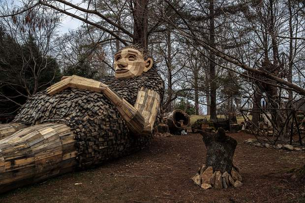 A pregnant Momma Loumari rests against a redwood tree. The giant troll and her two children have taken up residence in Bernheim Forest in Kentucky. The sculpture is the work of Artist Thomas Dambo, who created a similar troll in Breckenridge in summer 2018. March 15, 2019.