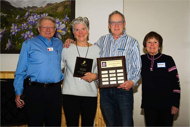 From left, Tim Orwick, Diane Rossi, Don DeVries and Margaret Johnson Greene pose for a photo after Rossi and DeVries were honored with the Nancy Macey Spirit Award from the Loosey Goosey Après Ski Group, which is affiliated with Summit County Senior Citizens.
