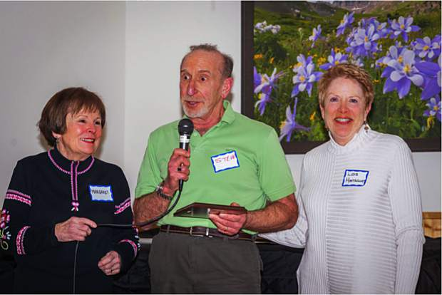 Affiliated with the Summit Country Senior Citizens, the Loosey Goosey Après Ski Group recently unveiled the winners of a few awards during its annual awards day ceremony. From left, Margaret Johnson Greene is shown posing for a photo with Steve Laden and and Lois Montague after Laden won of the group's Appreciation Award.