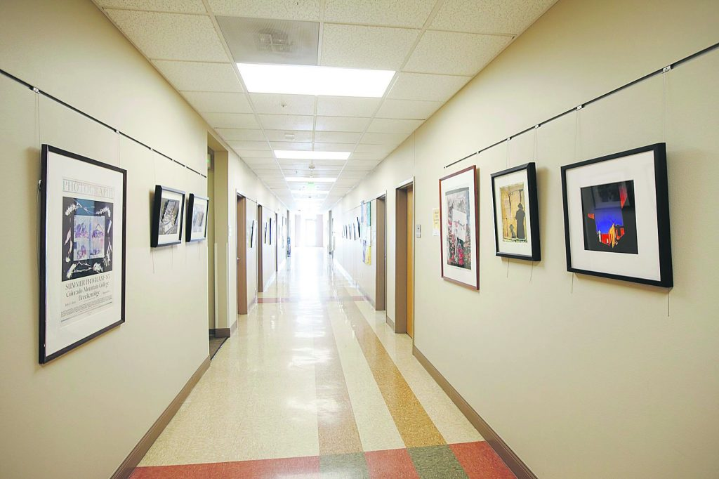 An hallway inside the Colorado Mountain College building Thursday, April 11, in Breckenridge.