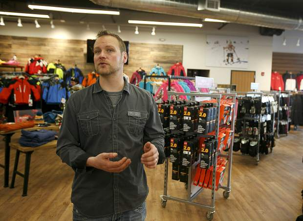 Christy Sports manager Adam Gillespie inside the renovated store location in Dillon Tuesday, April 2, along Highway 6.