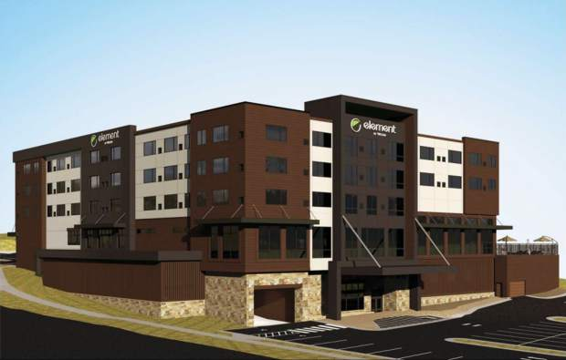 This conceptual rendering shows how the Element Hotel could look once built. Developers have adjusted their plans for the proposed hotel on Meraly Way in Silverthorne from an earlier submittal after deciding it was too expensive to build the hotel on top of a new parking structure. Silverthorne Town Council unanimously approved the new preliminary site plan on Wednesday with some conditions that must be met before final approval.