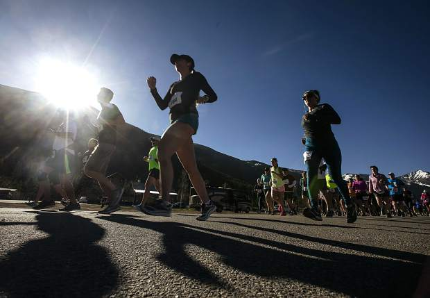 Participants take off for the the Run the Rockies race on Saturday, June 2, 2018 in Frisco.