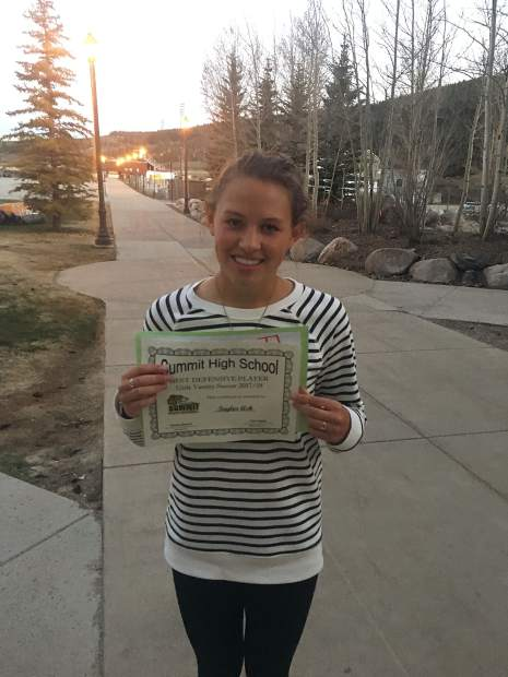 Taylor Ash smiles while holding up her best defensive player award for the Summit High School soccer team.