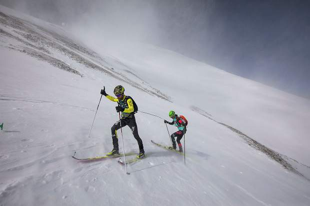 David Glennon and Nikki LaRochelle skin up Peak 10 during The Five Peaks ski mountaineering race on Saturday, April 27, in Breckenridge. Glennon and LaRochelle placed third overall and first in the co-ed division with a time of three hours and 17 minutes.
