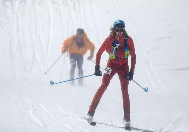 Carbondale residents and The Five Peaks ski mountaineering race champions Paul Hamilton, front, and Doug Stenclik race down from Peak 8 on Saturday, April 27, in Breckenridge.