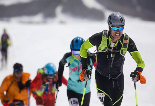 Crested Butte resident Jon Brown skins up during The Five Peaks ski mountaineering race on Saturday, April 27, in Breckenridge.