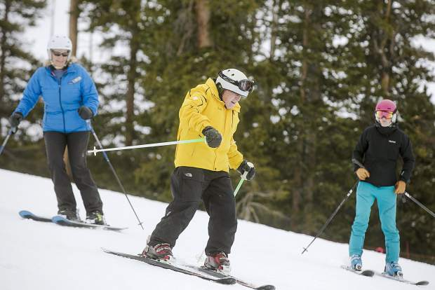 Frank Walter, 96, skies with help from colleagues Thursday, April 4, at Keystone Resort.