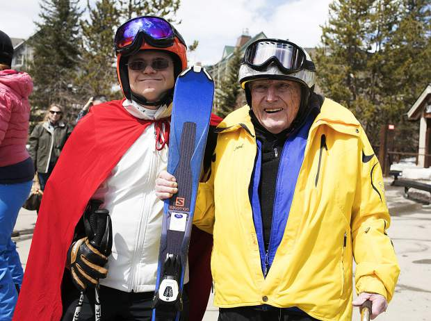 Frank Walter, 96, with Special Olympics athlete Steven Kennedy Thursday, April 4, at Keystone Resort.
