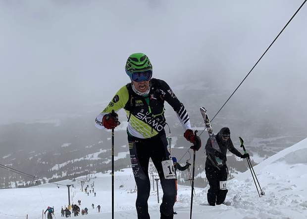 Todd Olsen of Keystone ascends up past the top of the T-bar during Saturday's Imperial Challenge at Breckenridge Ski Resort. Olsen won the retro open men's division at Saturday's Imperial Challenge, with a time of 1:36:08.