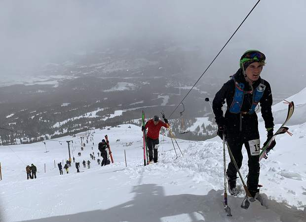 Sam Burke of Dillon ascends up past the top of the T-bar during Saturday's Imperial Challenge at Breckenridge Ski Resort.