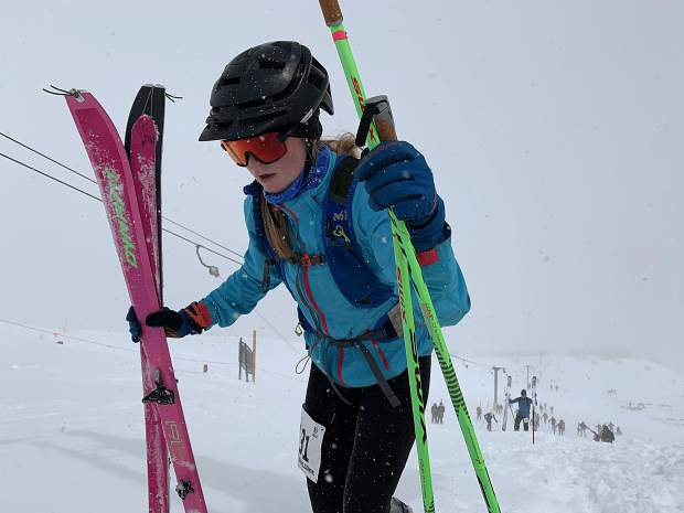 Elsa Bates, 17, of Breckenridge, ascends up past the top of the T-bar during Saturday's Imperial Challenge event at Breckenridge Ski Resort. Bates' time of 1:55:15 earned her a podium spot and third-place medal in the overall women's competition.