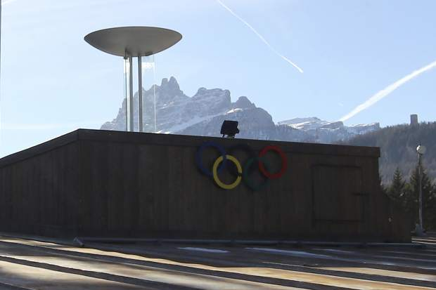 A view of the Palazzo del Ghiaccio Ice Palace in Cortina D'Ampezzo, northern Italy, as seen on Jan. 16. The Milan-Cortina d'Ampezzo bid for the 2026 Winter Olympics has been boosted by a key letter of financial support from the Italian government.